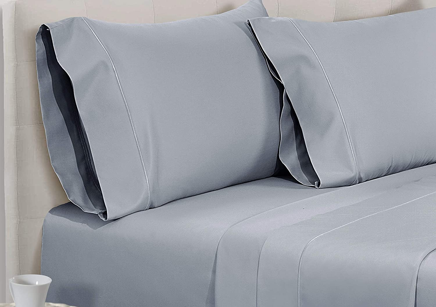 Full, Granite Grey CHATEAU HOME COLLECTION 800-Thread-Count Egyptian Cotton Deep Pocket Sateen Weave Sheet Set Ultimate Gift; Holiday Sale
