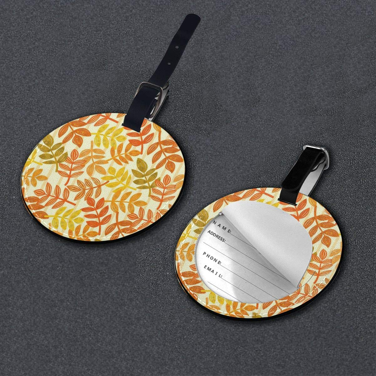 Round Luggage Tags Artwork Painting PU Leather Suitcase Labels Bag