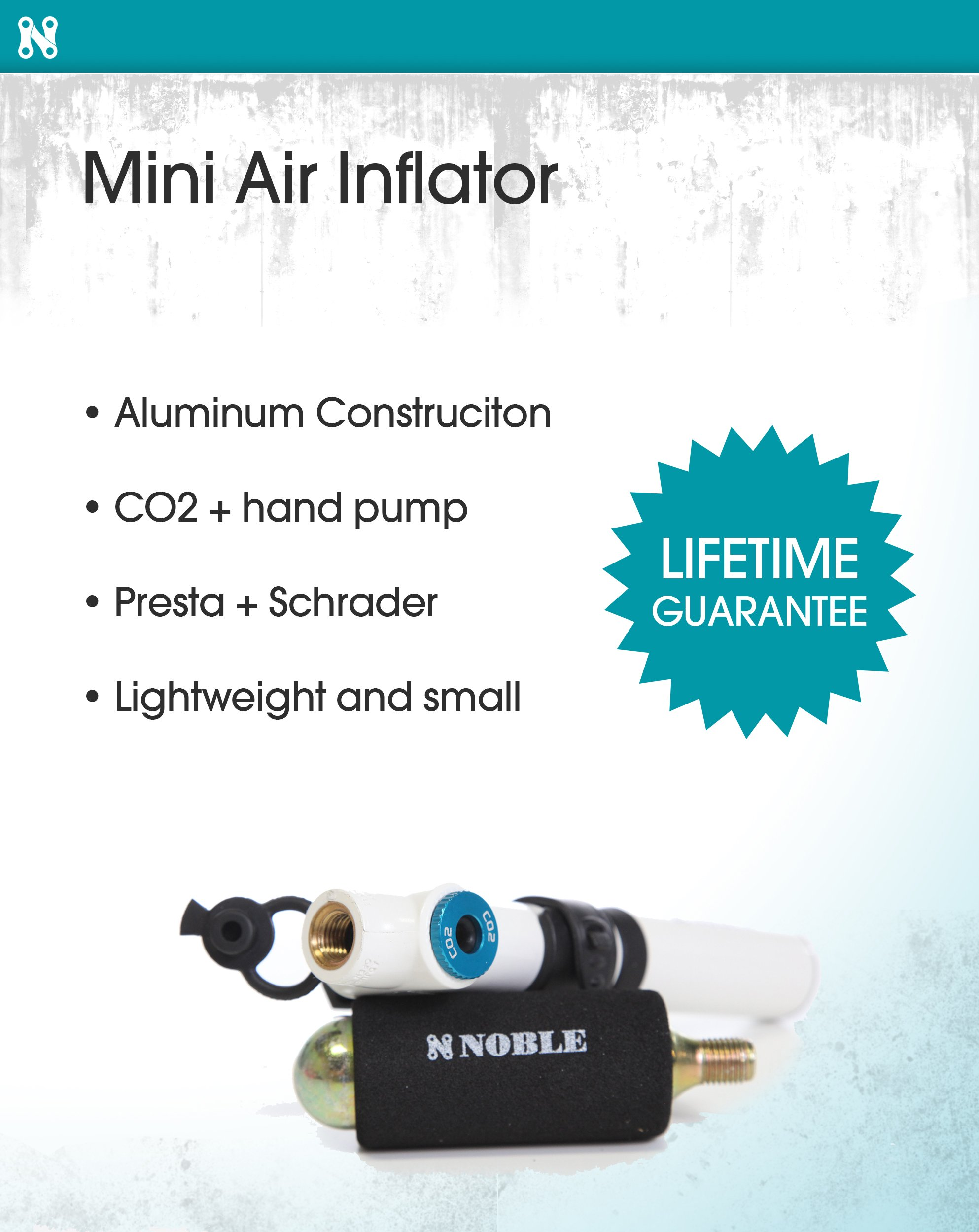 Portable Mini Air Inflator Pump with CO2 Pressure Valve for Bicycle Tire - Small Handheld Tool Fits both Dunlop and Presta Valves - Perfect Bike Accessory to Keep Tires Inflated and on the Road by Noble Cycling (Image #2)