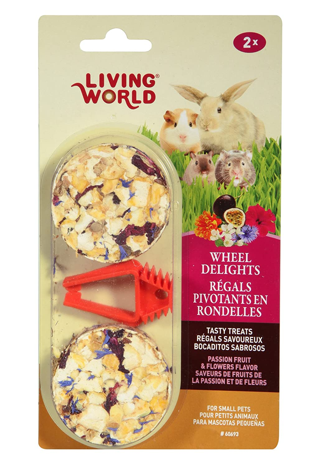 Living World 60693 2-Pack Small Animal Wheel Pet Treat Delights, 2.4-Ounce, Passion Fruit/Flowers