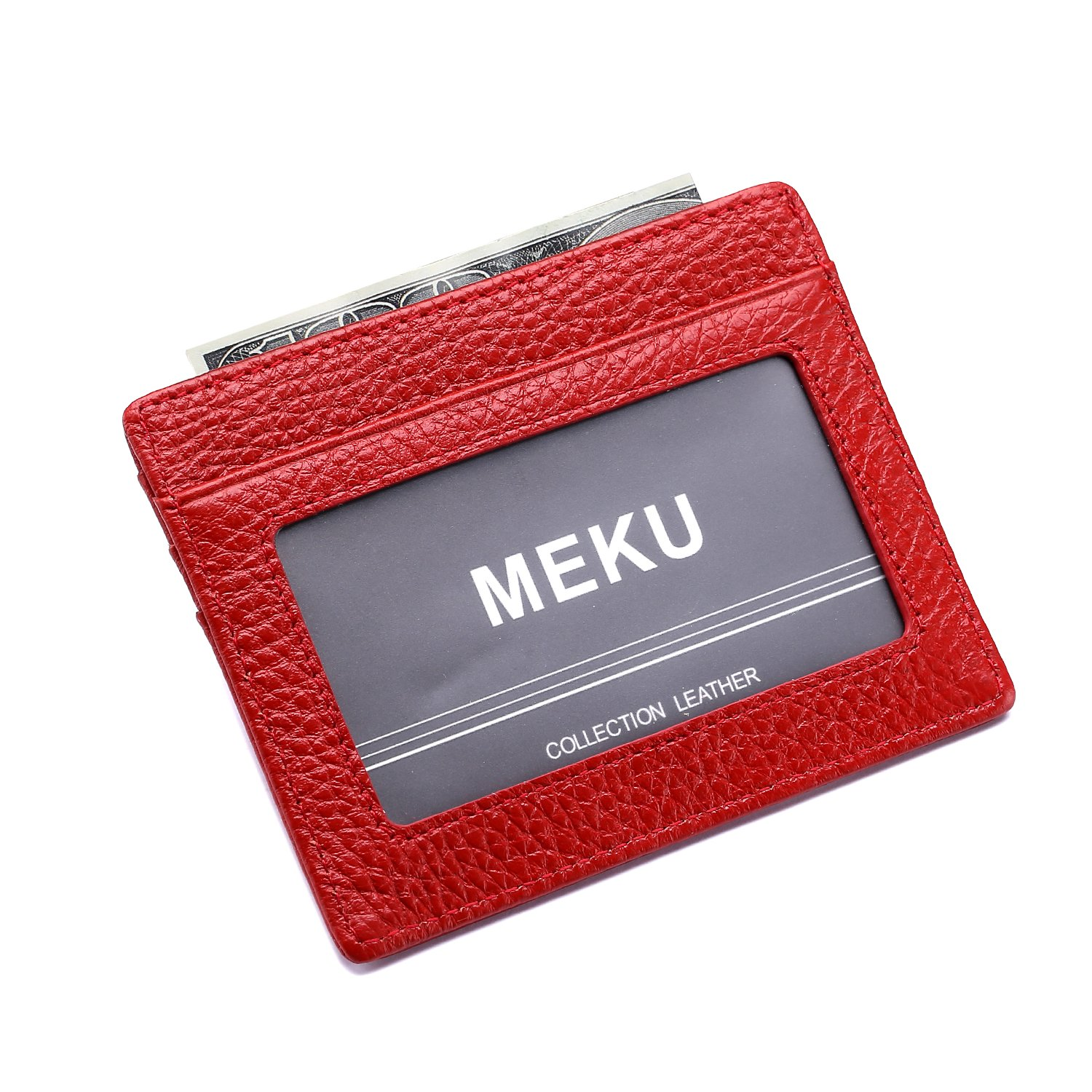 MEKU Slim Leather Wallet Credit Card Case Sleeve Card Holder With ID Window MK-LCC005-BAK