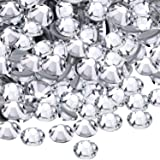WILLBOND 1440 Pack Hot Fix AB Crystals Flatback Hotfix Rhinestones Round Gems Glass Stones (Clear, 3MM)