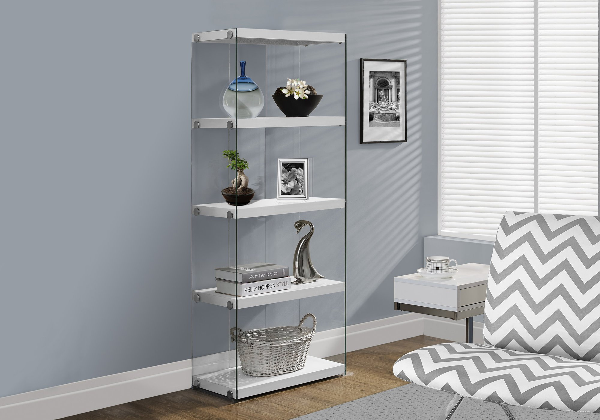 Monarch Specialties I Bookcase-5-Shelf Etagere Bookcase Contemporary Look with Tempered Glass Frame Bookshelf, 60''H, (White) by Monarch Specialties
