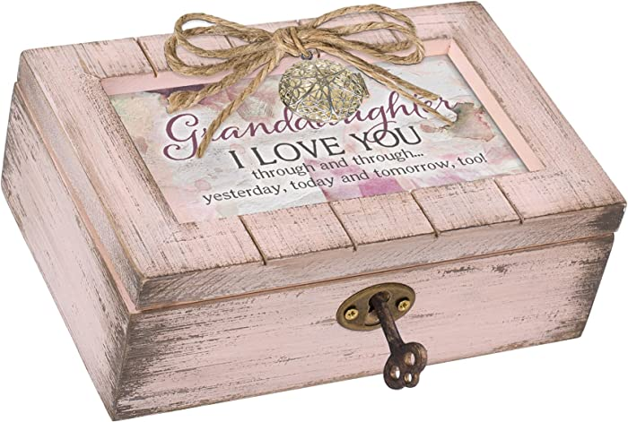 Cottage Garden Granddaughter Love Blush Pink Distressed Locket Petite Music Box Plays Light Up My Life