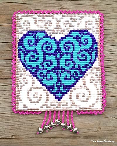 Amazon.com: Beaded Tapestry, Heart, Turquoise, Purple, Beaded Wall ...