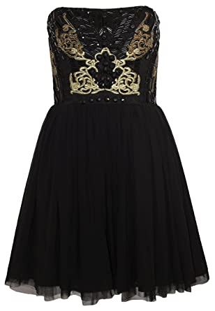 Lipsy VIP Baroque Embroidered Jewel Embellished Prom Dress in Black/Gold (10)