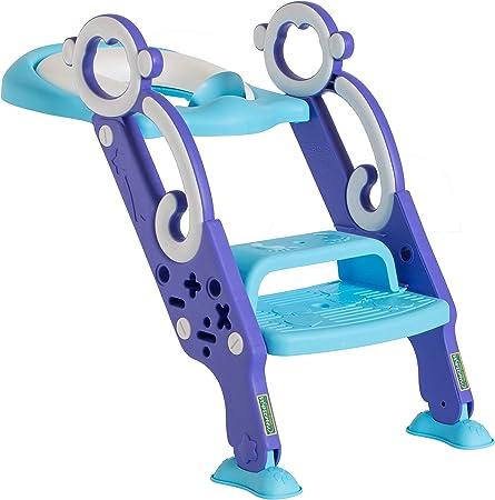 Asiento de entrenamiento para inodoro con escalera antideslizante: orinal plegable acolchado con escalón en color azul y morado para niñas y niños: Amazon.es: Bebé