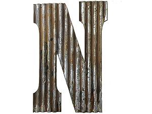 Farmhouse Rustic 24'' Wall Decor Corrugated Metal Letter N