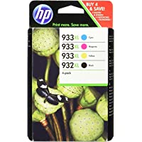 HP 932XL/933XL Multipack Original Druckerpatronen (Schwarz, Blau, Rot, Gelb) mit hoher Reichweite für HP OfficeJet 7510, 7612, 7110, 6700, 6100, 6600