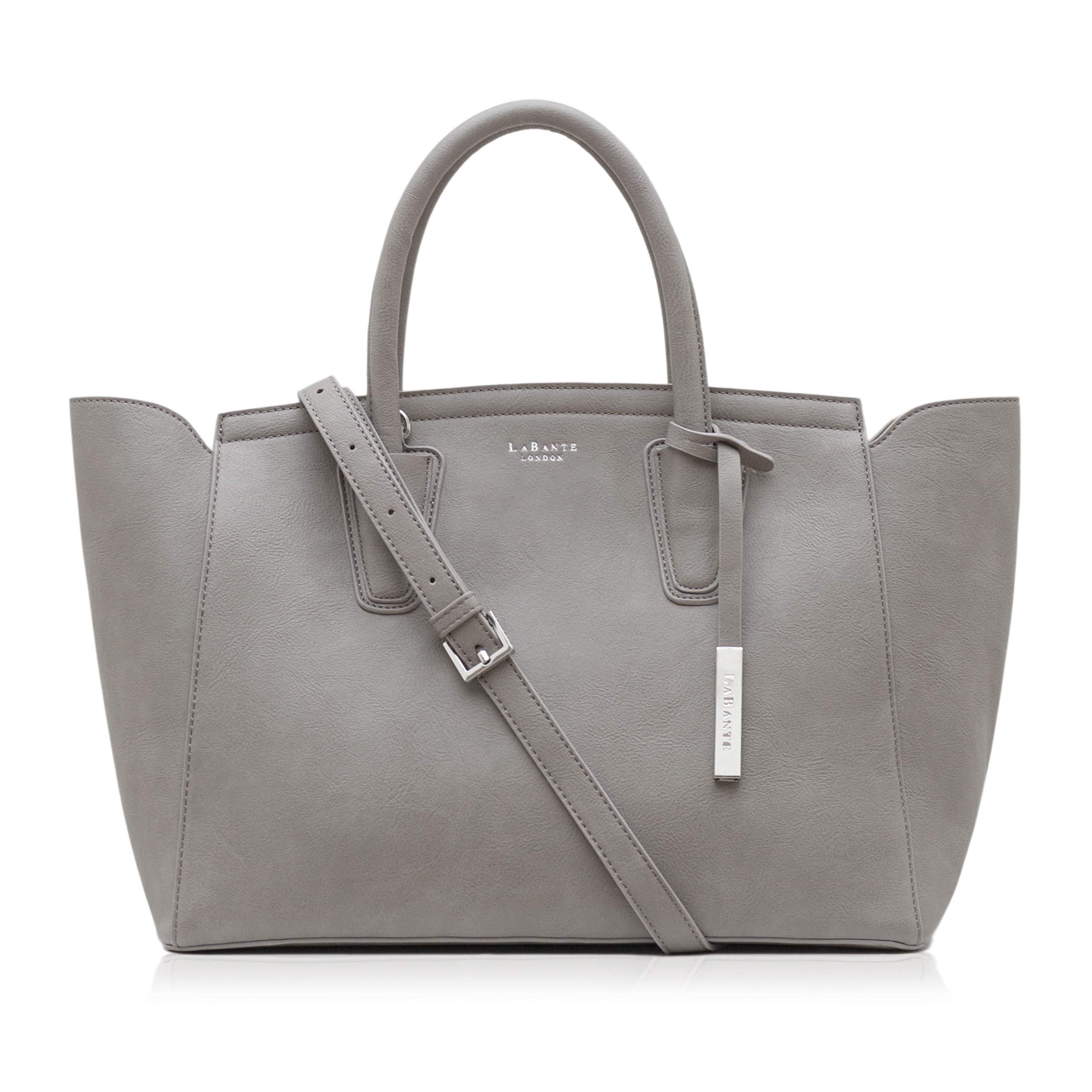 LaBante London 'Grant' Vegan Leather Carryall Laptop Bag for Women (Grey)
