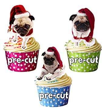 Pugs in Santa Hats 12 Christmas Cup Cake Toppers - Edible Stand Up  Decorations 32982668391
