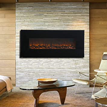 Pleasant Kuppet 50 Electric Fireplace Wall Mounted 1500W Adjustable Fireplace Heater Linear Fireplace Timer Remote Control Metal Glass Frame Original Interior Design Ideas Greaswefileorg