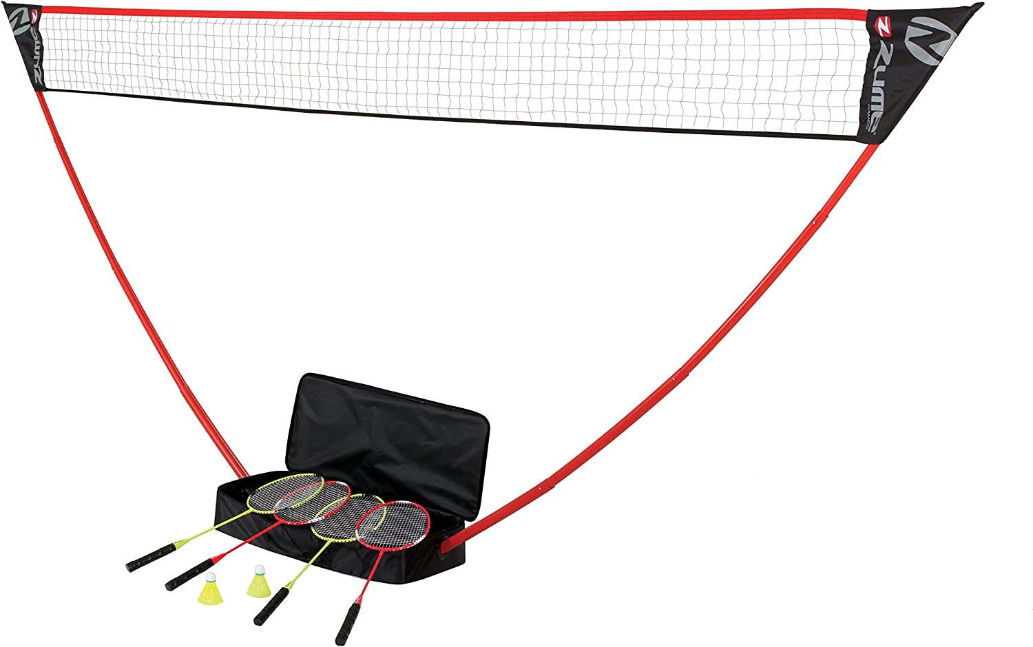 Zume Games Portable Badminton Set with Freestanding Base – Sets Up on Any Surface in Seconds – No Tools or Stakes Required : Badminton Sets : Sports & Outdoors