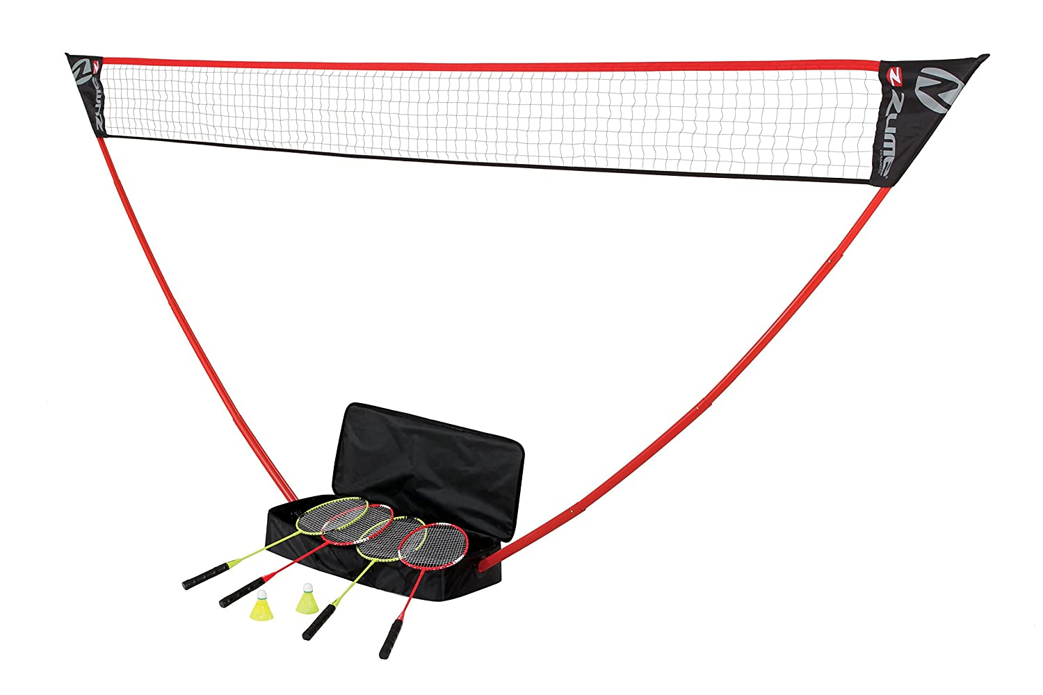 Zume Games Portable Badminton Set with Freestanding Base – Sets Up on Any Surface in Seconds – No Tools or Stakes Required