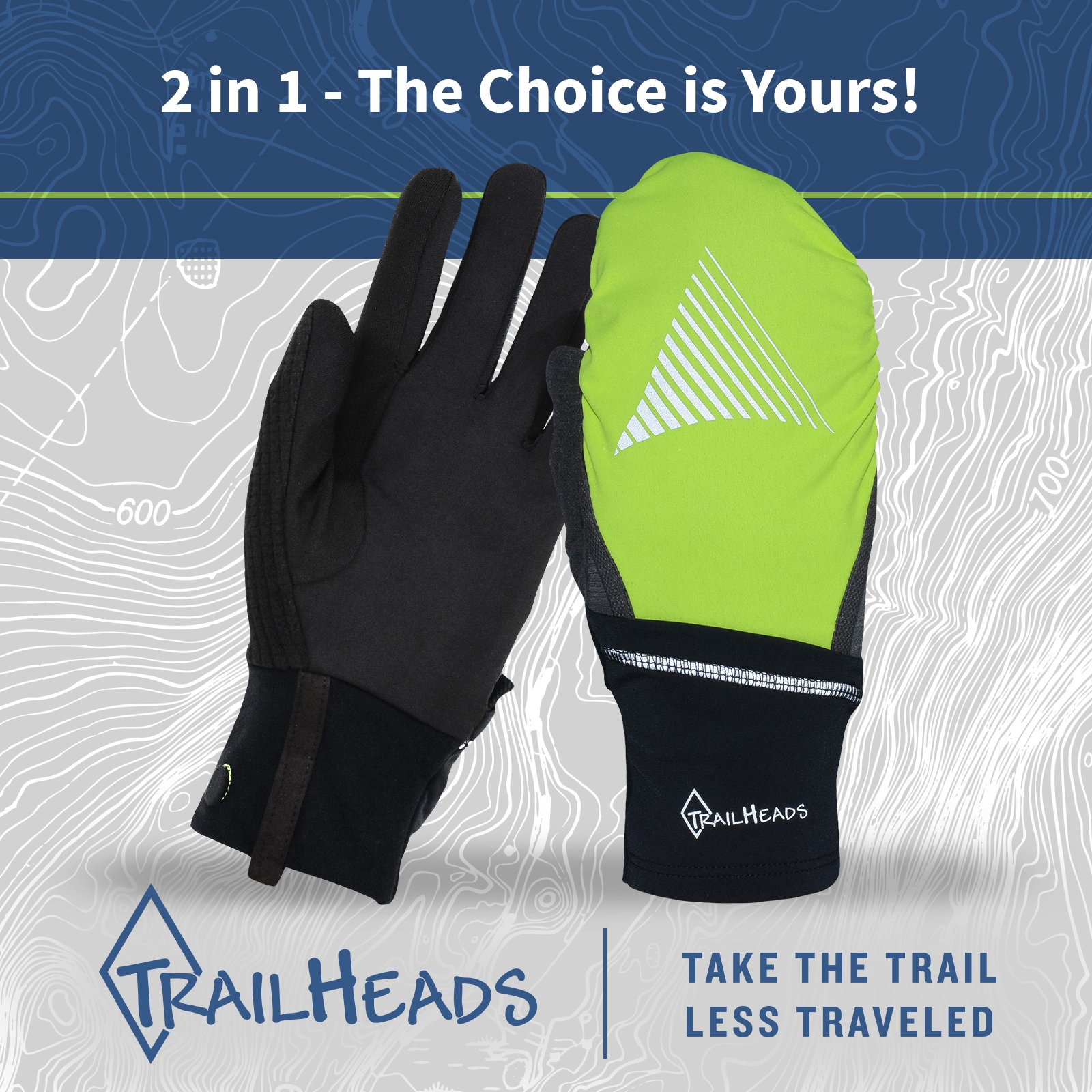 TrailHeads Convertible Running Gloves - black/hi-vis (small/medium) by TrailHeads (Image #5)