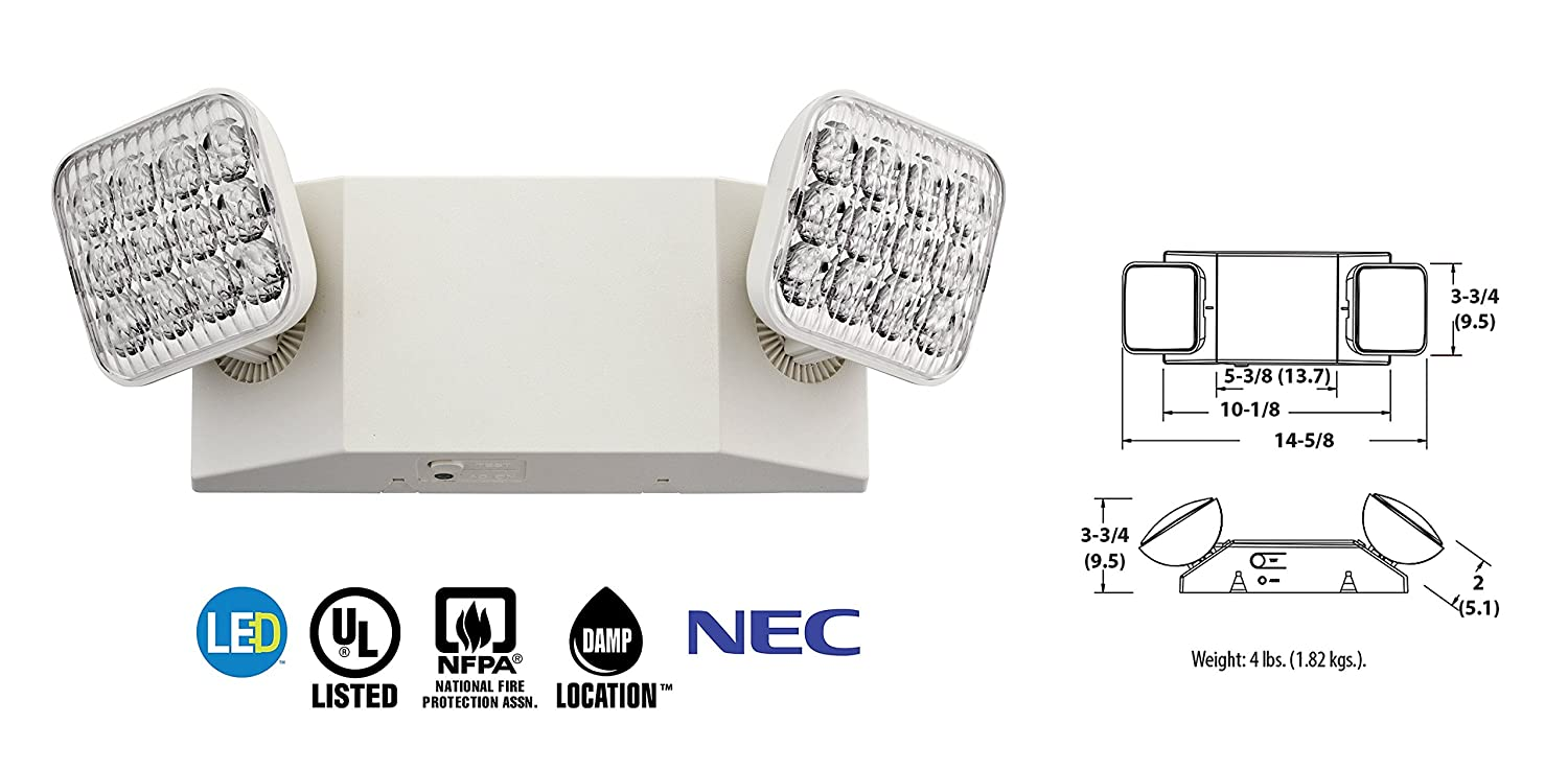 Lithonia Lighting Eu2 Led Wiring Diagram Library 2 Light White Emergency Fixture With 90 Minute Back Up