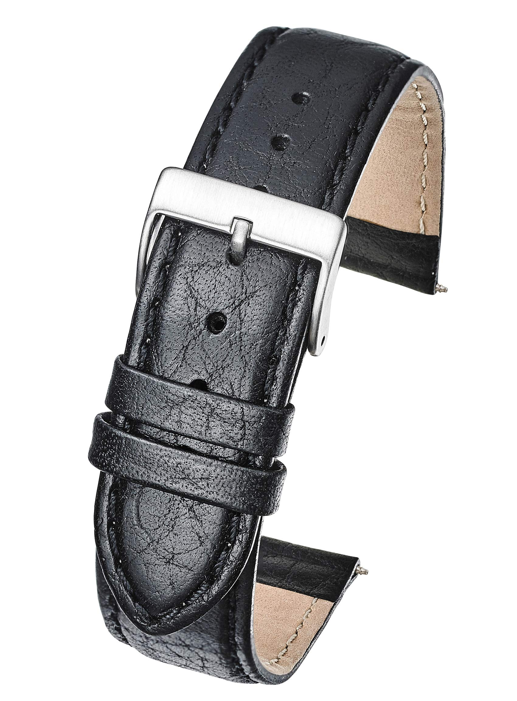 Alpine Soft Stitched Semi Padded Genuine Leather Buffalo Grain Watch Band in Extra Long for Wider Wrists ONLY- Black Brown Tan in Sizes 18XL to 26XL (fits Wrist Sizes 7 1/2 to 9 inch)