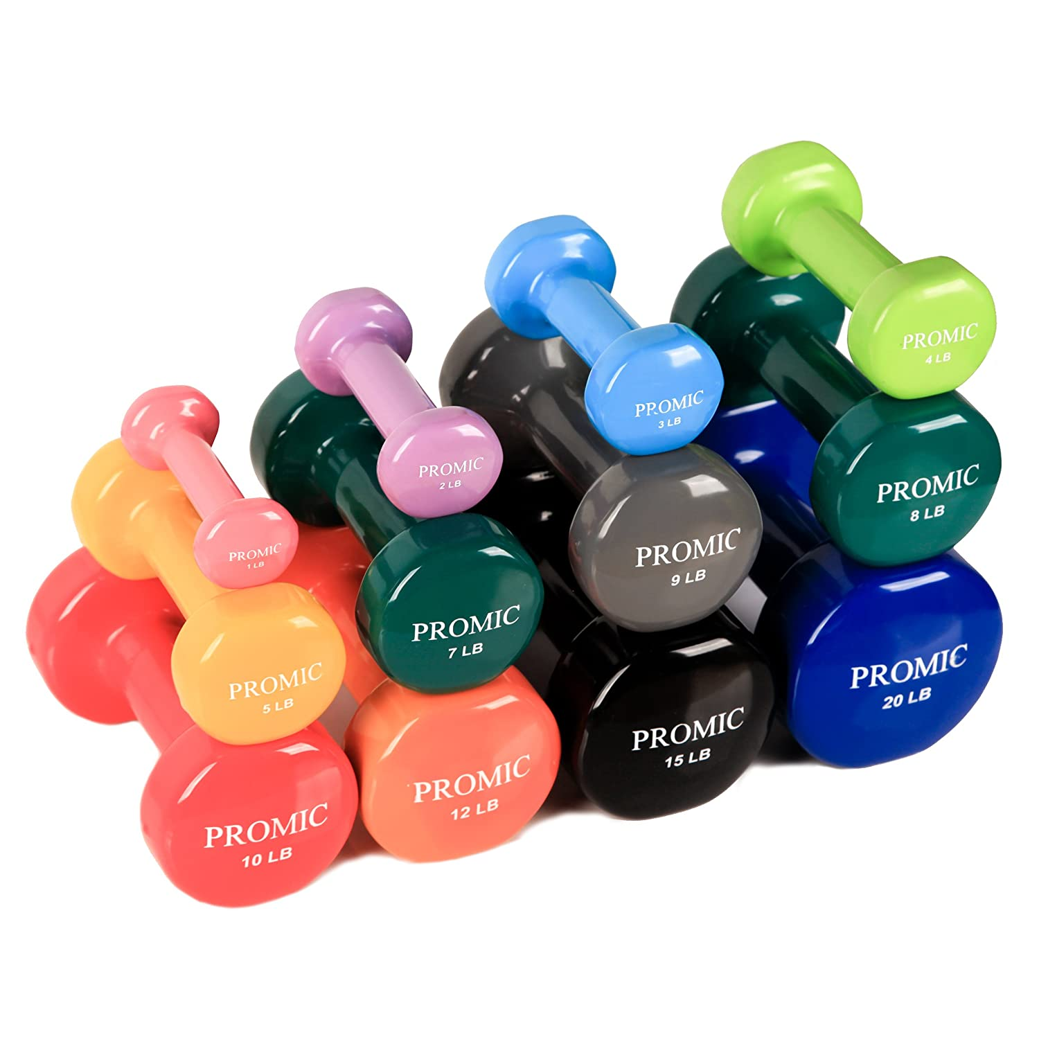 Amazon.com : PROMIC 1lb to 20lb Hand Weights Deluxe Vinyl Coated Dumbbells  (Sold in Pair) - Non Slip, Multi Colors Available : Sports & Outdoors