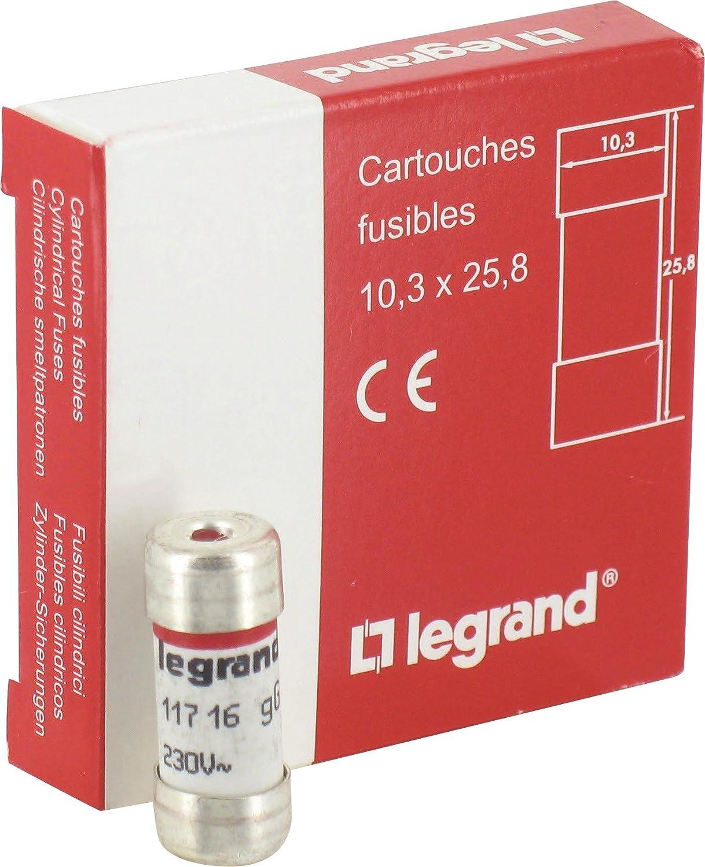 Cartouche domestique à voyant Legrand - 250 V coupure 6000 A - Intensité 16 A - Vendu par 10