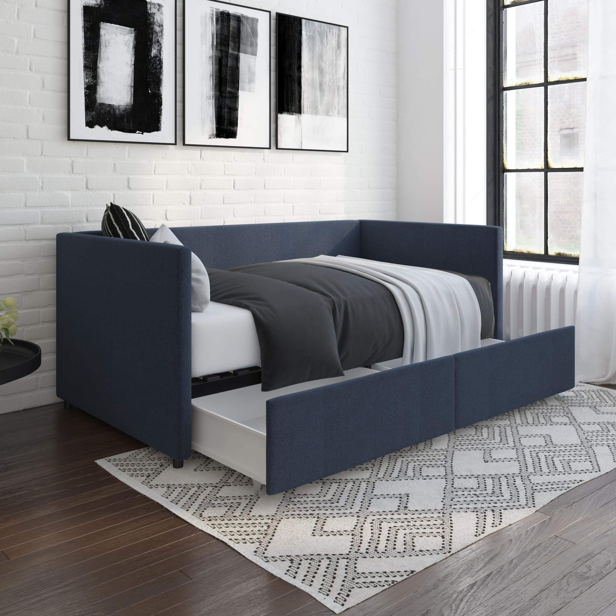 DHP Theo Urban Daybed with Storage Drawers, Small Space Furniture, Blue Linen by DHP