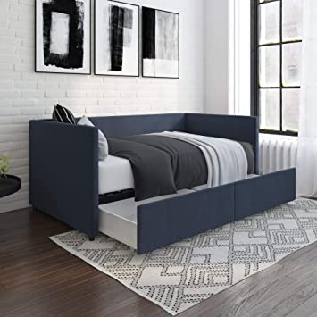 best service 05834 b34dd DHP Theo Urban Daybed with Storage Drawers, Small Space Furniture, Blue  Linen