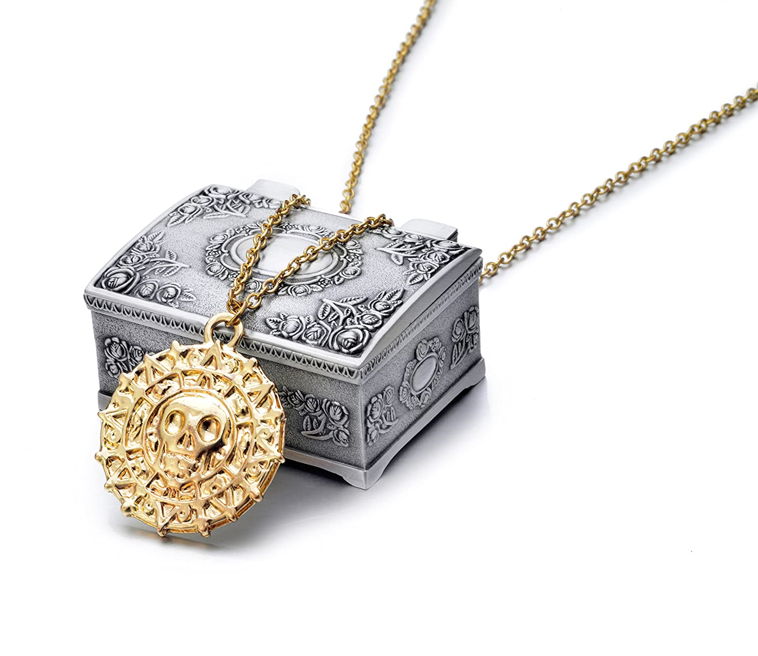 Men's gold-tone metal Aztec coin pendant necklace and jewelry box - DeluxeAdultCostumes.com