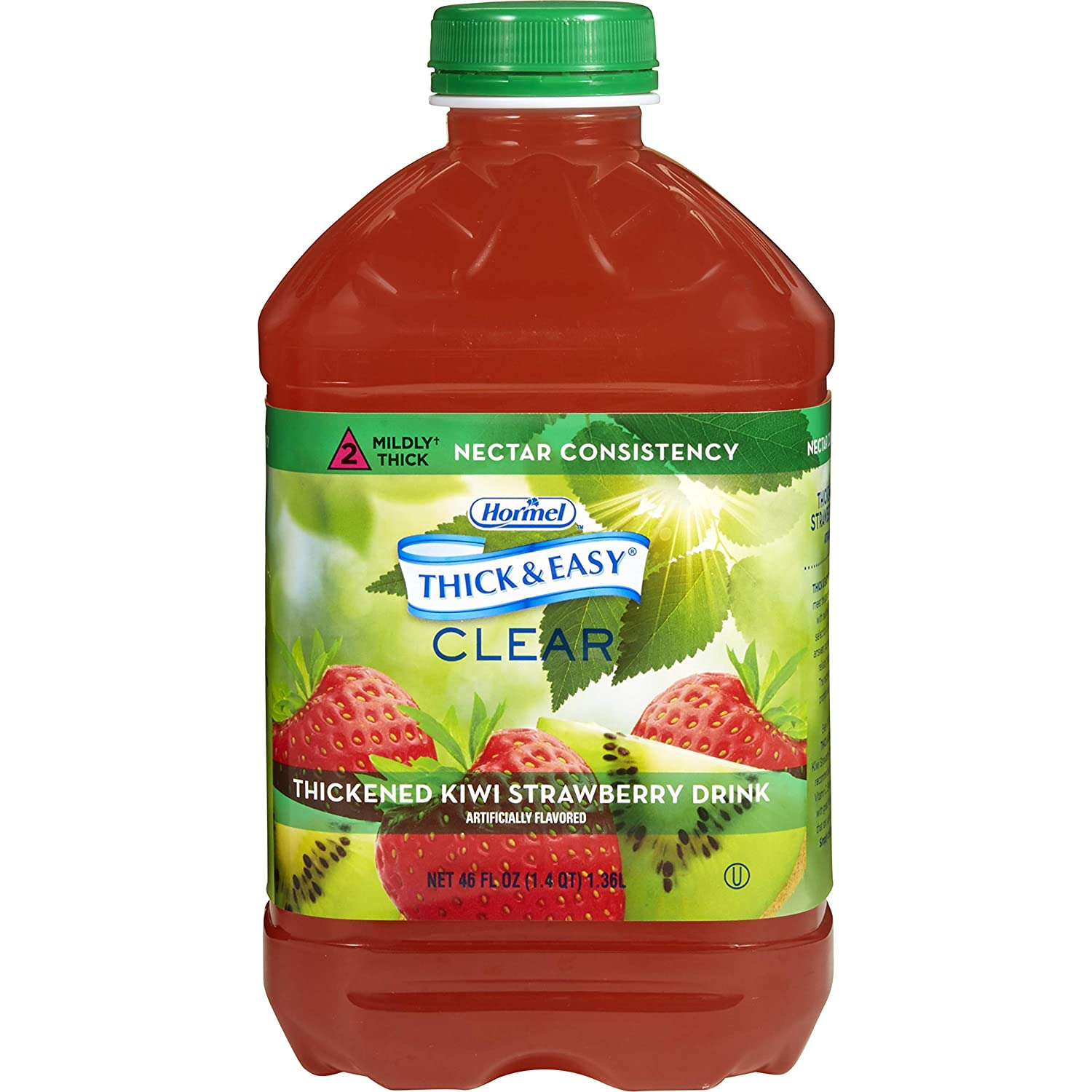 Thick & Easy Thickened Beverage 46 oz. Bottle Kiwi Strawberry Flavor Ready to Use Nectar Consistency, 27930 - Case of 6
