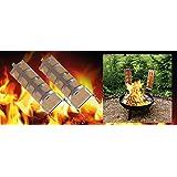 2 tB01N59A87Heiliges Flammlachs-Set: 2 Holz-Flammlachs-Bretter inkl 2 Edelstahlhalter zur Befestigung an Feuerschalen mit verstellbarem Neigungswinkel