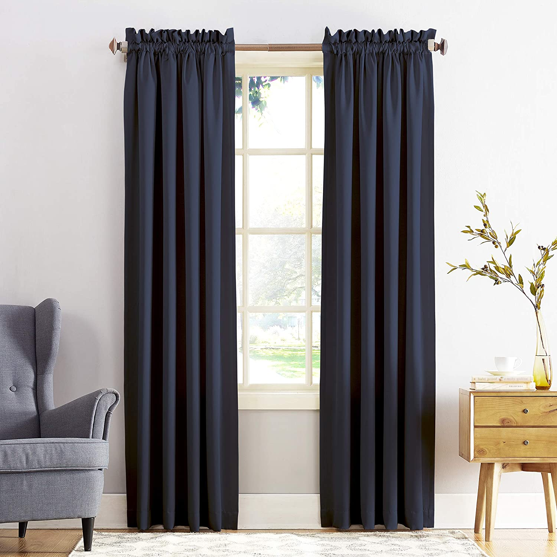 "Sun Zero Barrow Energy Efficient Rod Pocket Curtain Panel, 54"" x 84"", Navy Blue"