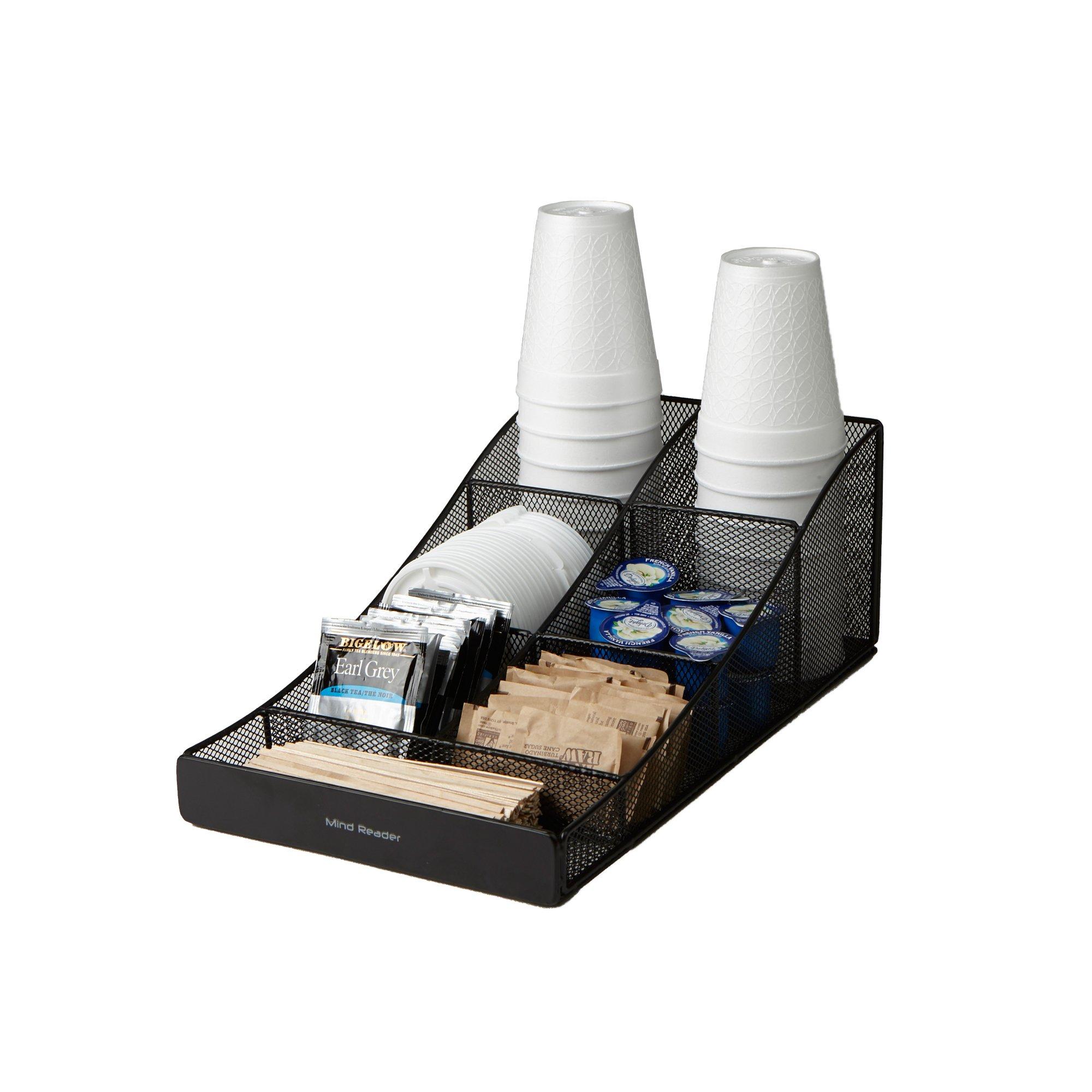 Mind Reader COMP7MESH-BLK Condiment Organizer Storage, Black Metal Mesh by Mind Reader (Image #1)