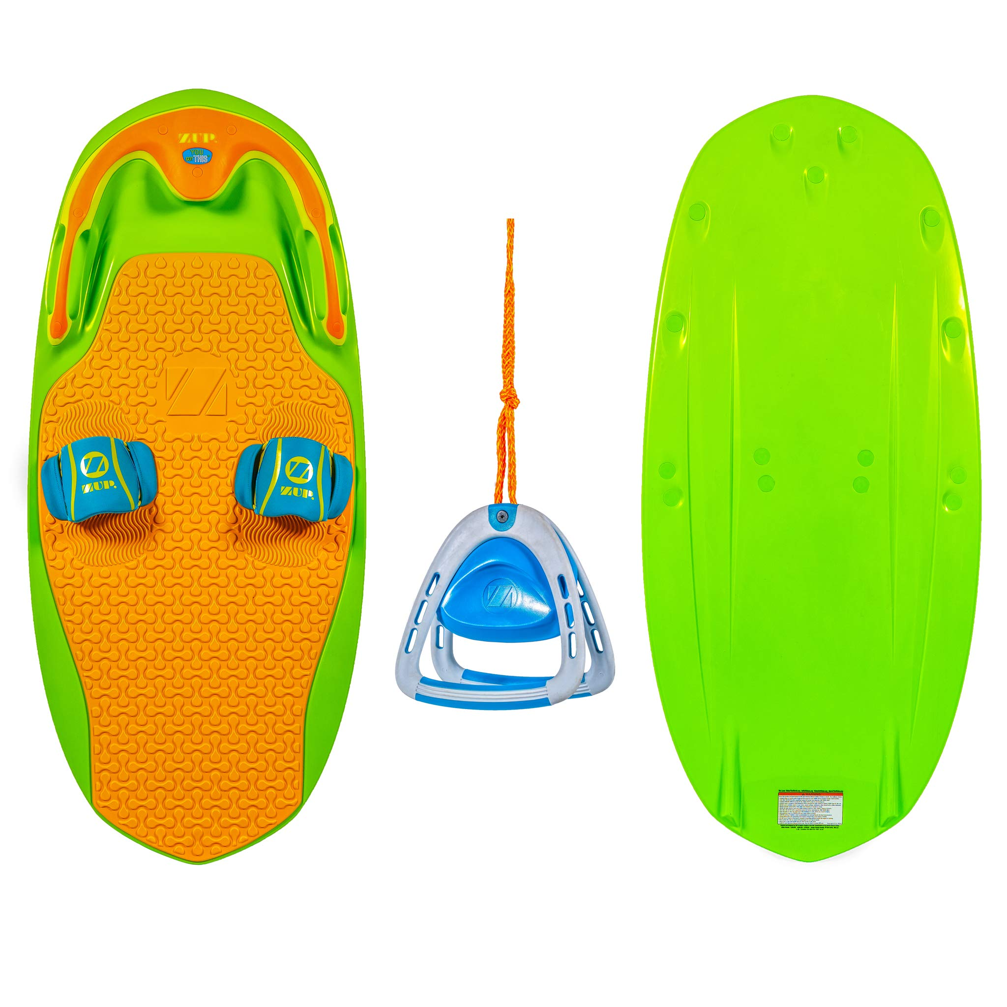 ZUP You Got This 2.0 Board and 2.0 Handle Combo, All-in-One Kneeboard, Wakeboard, Wakeskate, and Wakesurf Board for All Ages, Lime by ZUP
