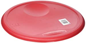Rubbermaid Commercial Lid (Lid Only) for Round Food Storage Container, Fits 12 Qt. Containers, Red (1980387)