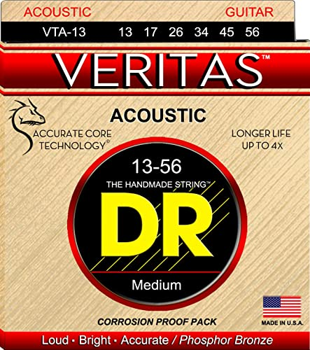 Dr Strings Vta-13 Veritas Phosphor Bronze Acoustic Guitar Strings Medium Gauge (0.013-0.056)