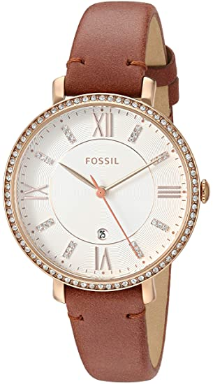 Amazon.com: Fossil Womens Jacqueline Quartz Stainless-Steel-Plated Strap, Rose Gold, 14 Casual Watch (Model: ES4438: Fossil: Watches