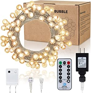 45ft Fairy String Lights, 100 LEDs Super Bright Globe String Lights Plug in Waterproof with Remote for Indoor/Outdoor and Hanging Decor, Warm White