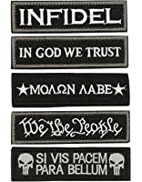 LepoHome Bundle 5 pcs Tactical Military Morale Velcro Patch Set - Black