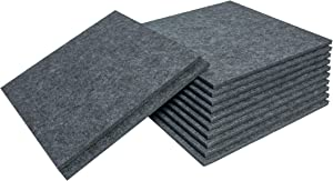 12 Pack Acoustic Absorption High Density Panels, 12''X12''X0.4'' Sound Proofing Flame Retardant, Sound Absorbing Panels for Wall and Ceiling Acoustic Treatment, Used in Home & Offices (Dark Grey)