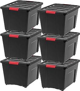 IRIS USA, Inc TB-56D Stack & Pull Storage Box, 53 Quart, Black