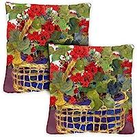 Toland Home Garden 721218 Geranium Basket 2-Pack 18 x 18 Inch, Indoor/Outdoor Pillow with Insert