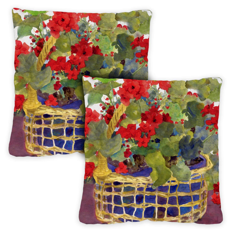 Toland Home Garden 721218 Geranium Basket 2-Pack 18 x 18 Inch, Indoor/Outdoor, Pillow with Insert