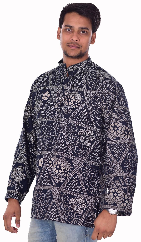 Lakkar Havali Indian 100/% Cotton Mens Kurta Shirt Blue Color Tunic Loose Fit Plus Size Dots Print
