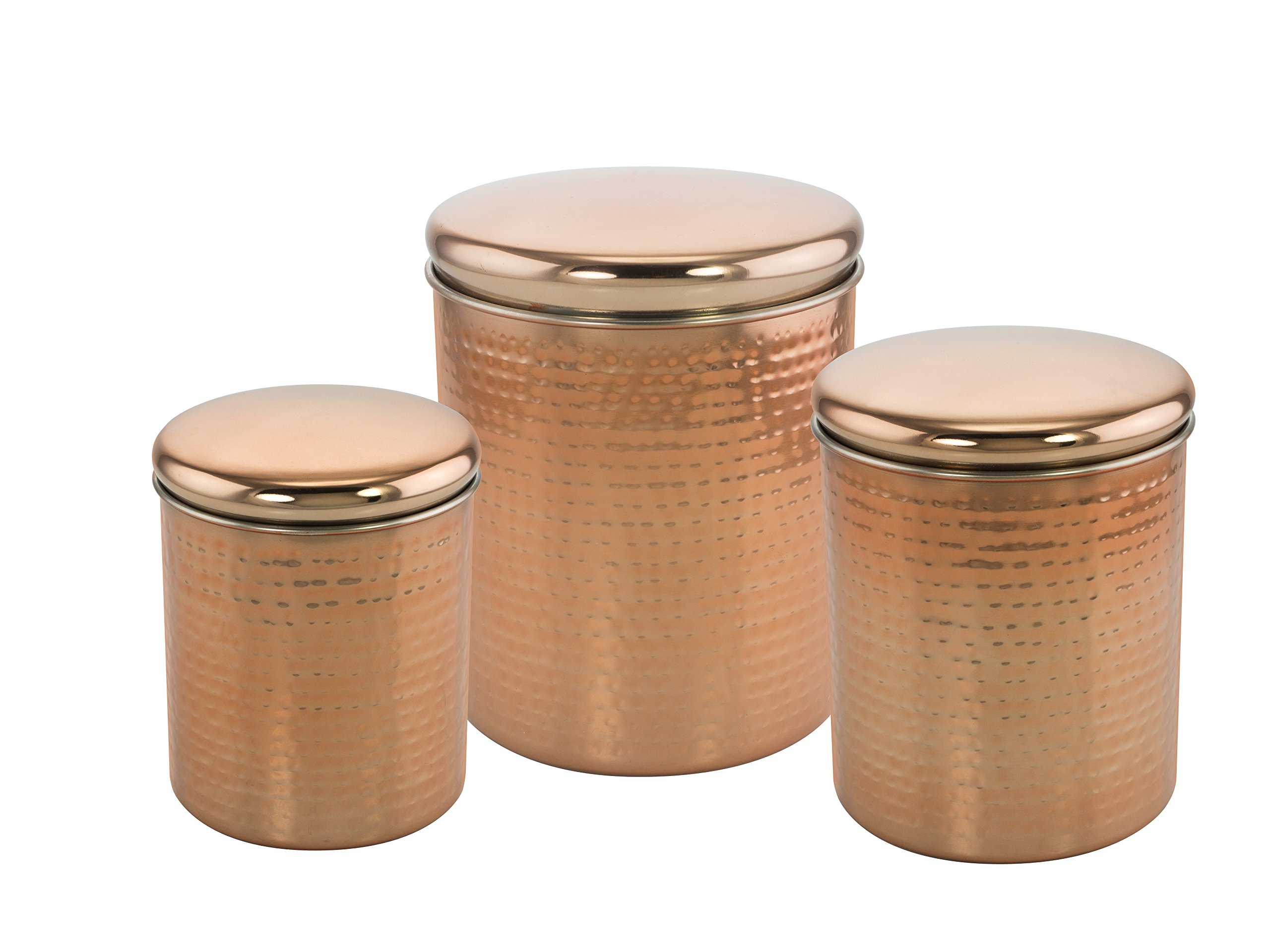KOVOT Set of 3 Copper Plated Stainless Steel Nesting Canisters With Lids