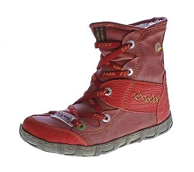 Leder Winter Stiefeletten TMA Damen Knöchel Schuhe gefüttert Rot Stiefel  Knöchelschuhe Gr. 36 581740802e