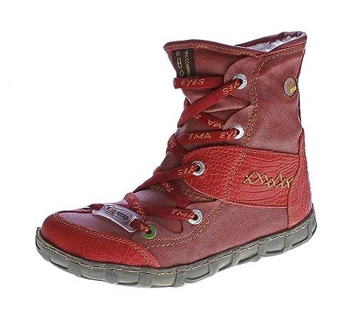 TMA Leder Winter Stiefeletten Damen Knöchel Schuhe gefüttert Schwarz Weiß Grün Blau Rot Stiefel im used look Knöchelschuhe