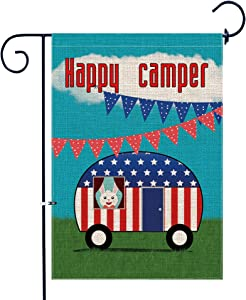 Bonsai Tree Burlap Happy Camper Garden Flags 12x18 Prime Double-Sided Seasonal Yard Outdoor Camping Decorative Flag Banner Stopper & Anti-Wind Clip