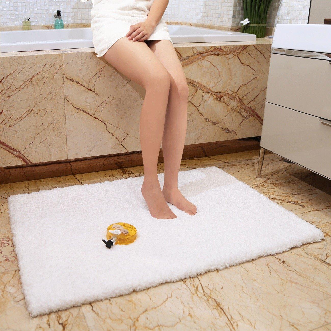 KMAT X Inch Large Luxury White Bath Mat Soft Shaggy Bathroom - Large white bathroom rugs