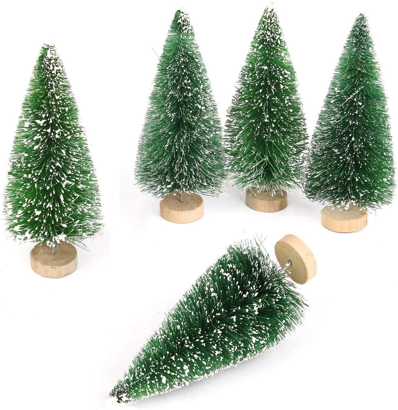 Set of 5 Bottle Brush Christmas Trees 11 inch Green Pine Brown Shades New