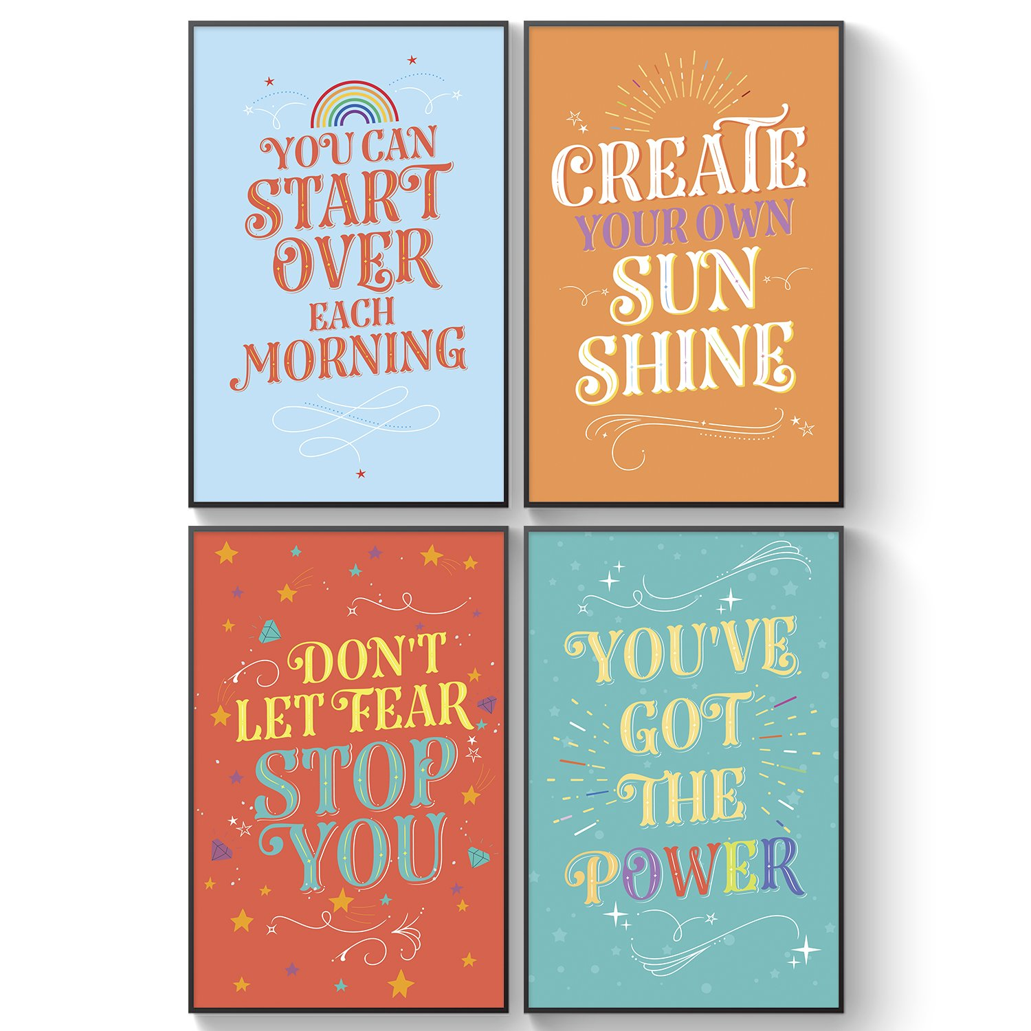 Pillow & Toast Inspirational College Dorm Posters Guys, Set of 4 Motivational Wall Art Set, 11 x 17 Inches by Pillow & Toast