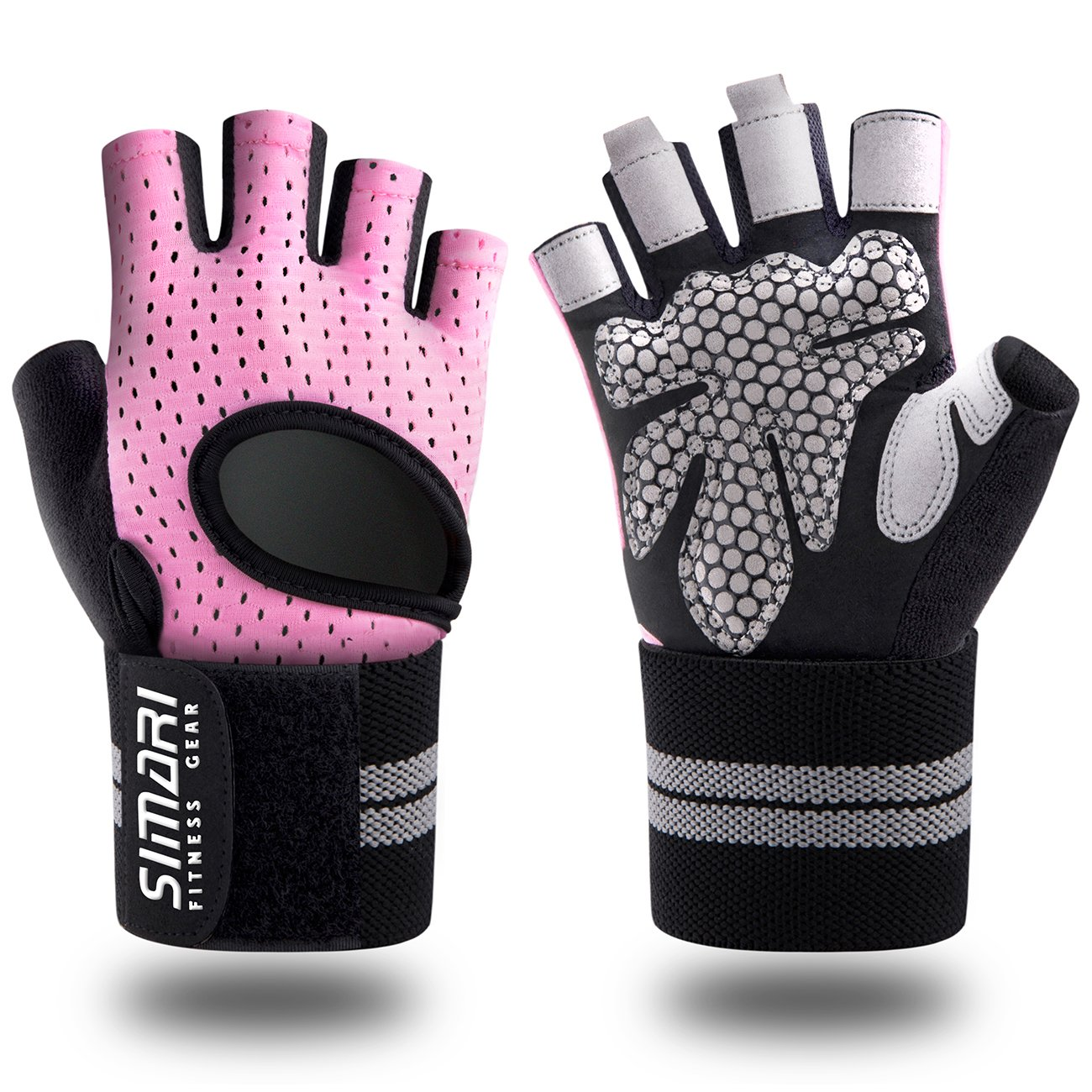SIMARI Workout Glovesfor Women Men,Training Gloves with Wrist Support for Fitness Exercise Weight Lifting Gym Crossfit,Made of Microfiber and Lycra SMRG902(Pink XL) by SIMARI
