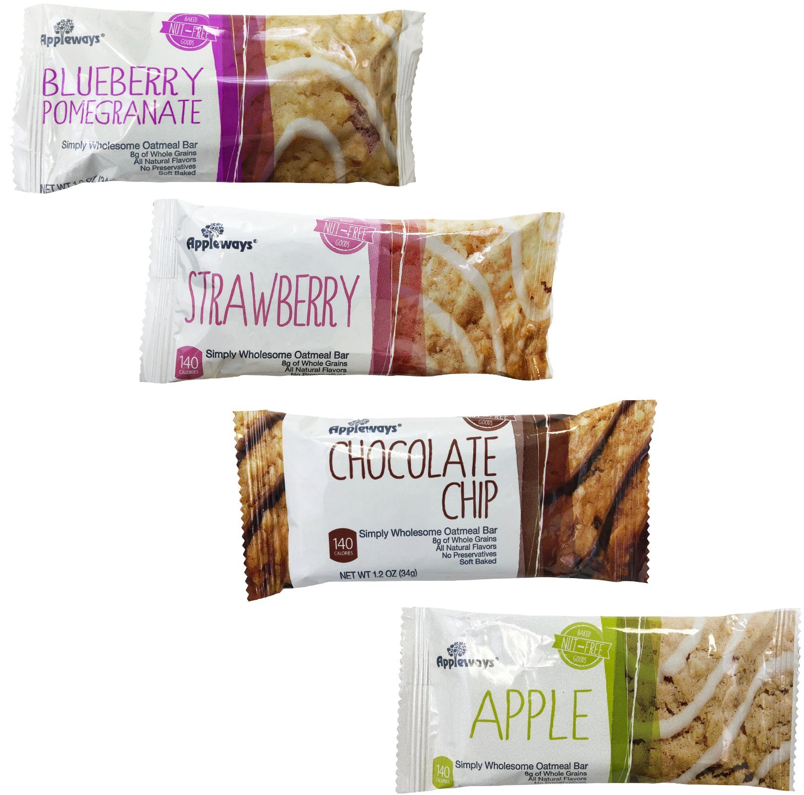 Appleways 60 Assorted Simply Wholesome Oatmeal Bar. Apple, Chocolate, Bluberry Pomegranate, and Strawberry Variety Pack. (BAM Tote Bag Included)